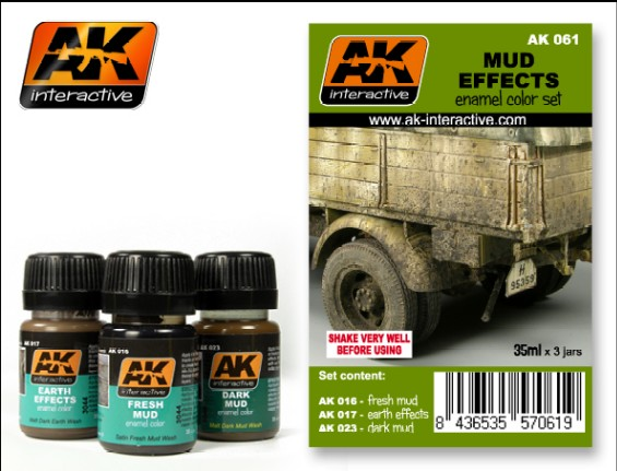 AK Interactive Mud Effects Enamel Paint Set (16, 17, 23)