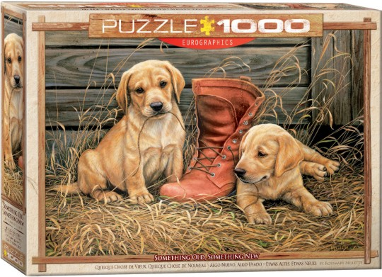 Something Old, Something New (Golden Lab Puppies & Boot) Puzzle (1000pc)