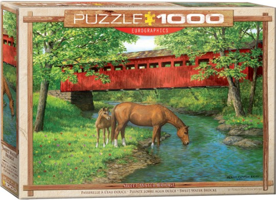 Sweet Water Bridge (Covered Bridge w/Horses by Stream) Puzzle (1000pc)