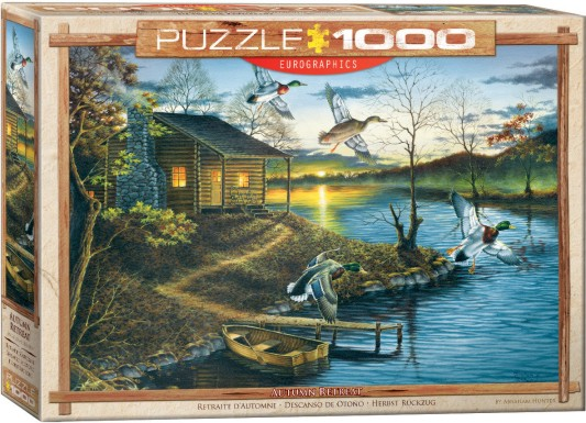 Autumn Retreat (Cabin by Lake at Sunset) Puzzle (1000pc)