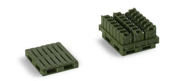 Herpa Minitanks 1/87 Jerry Cans (24) & Pallets (2)