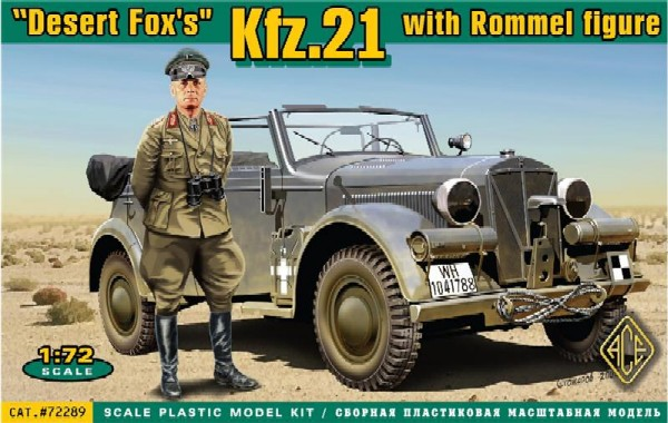 Ace Plastic Models  1/72 Kfz 21 Desert Fox's Staff Car w/Rommel Figure