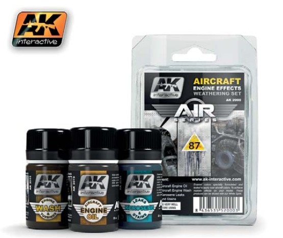 AK Interactive Air Series: Aircraft Engine Effects Enamel Weathering Set (3 Colo