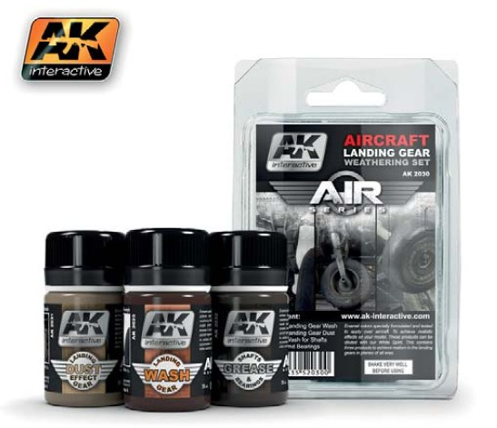 AK Interactive Air Series: Aircraft Landing Gear Enamel Weathering Set (3 Colors