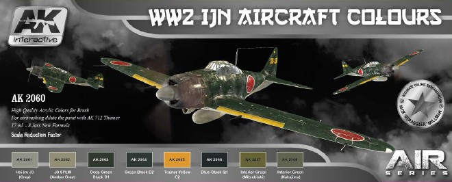 AK Interactive Air Series: WWII IJN Aircraft Colors Acrylic Paint Set (8 Colors)