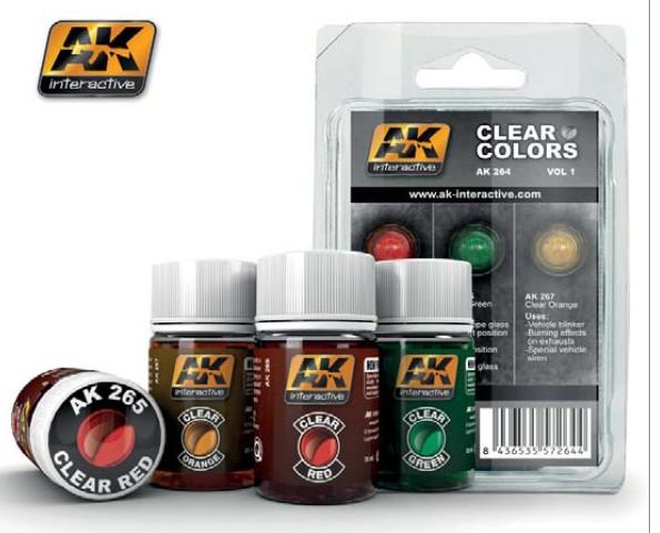 Ak Interactive Clear Colors Enamel Paint Set Vol 1 3 35ml Bottle