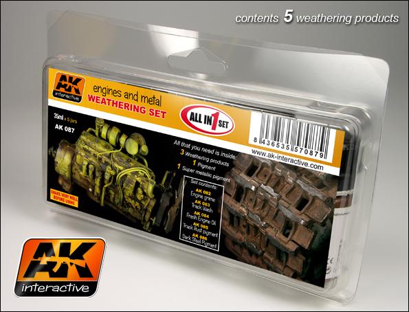 AK Interactive Engines & Metal Enamel Paint Set (82, 83, 84, 85, 86)