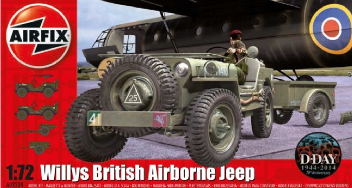 Airfix 1/72 Willys British Airborne Jeep, Trailer & 75mm Howitzer M1 Gun D-Day