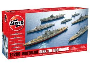 Airfix 1/1200 Sink the Bismarck Waterline Model Set (7 different ships)