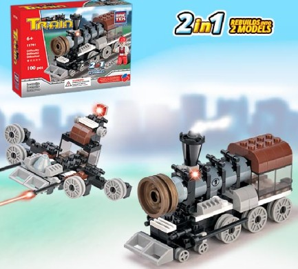 Brictek Building Blocks  Train Locomotive 2 in 1 (100pcs)