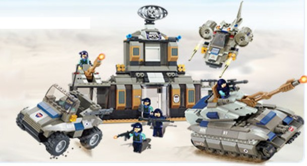 Brictek Building Blocks  Army Desert Base w/Tank (753pcs)
