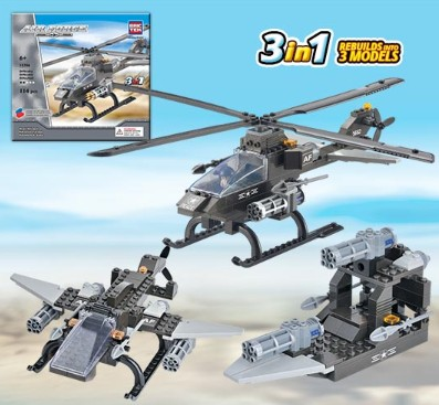 Brictek Building Blocks  Air Force Attack Helicopter 3 in 1 (114pcs)