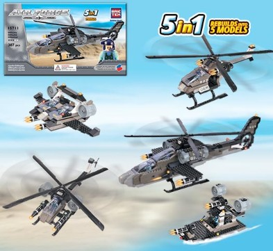 Brictek Building Blocks  Air Force Apache Helicopter 5 in 1 (387pcs)
