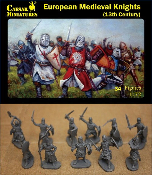 Image 0 of Caesar Miniatures 1/72 13th Century European Medieval Knights (34+)