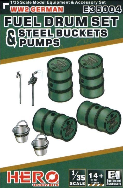 Hero Hobby Kits 1/35 WWII German Fuel Drums (4), Pump Pipes (2) & Steel Buckets