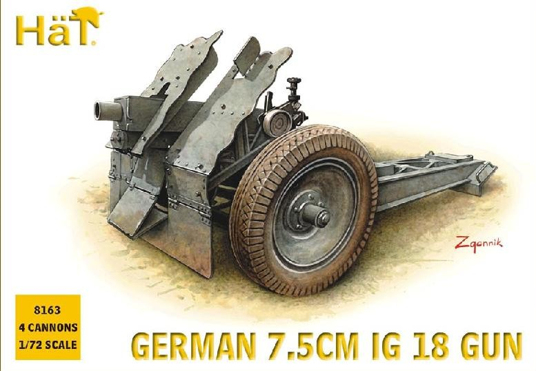 Hat 1/72 German 7.5cm IG18 Gun (4) (Re-Issue)