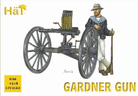 Hat 1/72 Colonial Wars Gardner Gun (4 w/24 Figs)