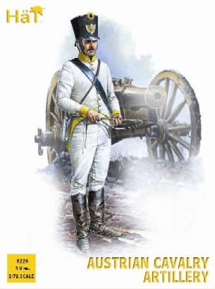 Hat 1/72 Napoleonic Austrian Cavalry Artillery (6 w/12 Horses & 3 Cannons)