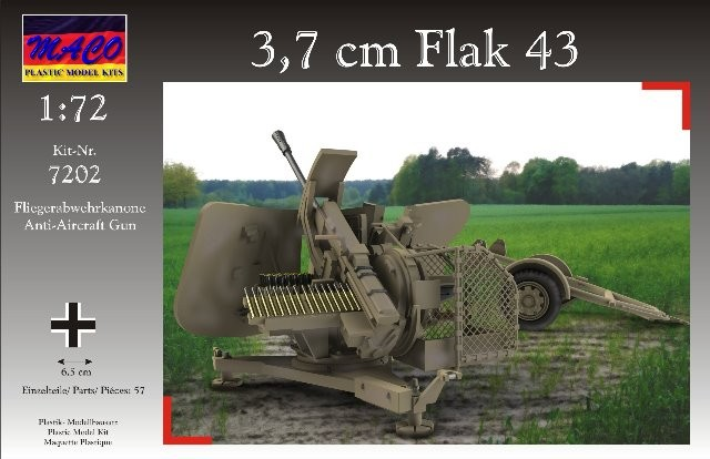 Maco Plastic Model Kits 1/72 WWII German 3,7cm Flak 43 AA Gun