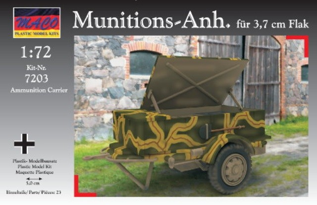 Maco Plastic Model Kits 1/72 WWII German 3,7cm AA Ammunition Gun Trailer