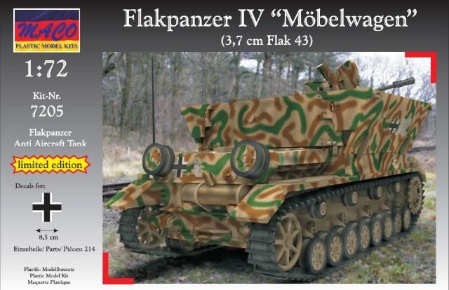 Maco Plastic Model Kits 1/72 WWII German Flakpanzer IV Moebelwagen Tank w Flak A