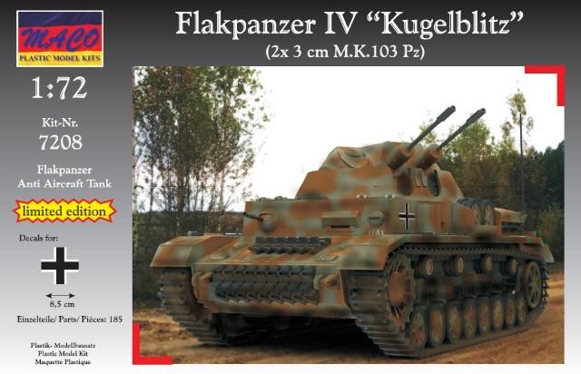 Maco Plastic Model Kits 1/72 WWII German Flakpanzer IV Kugelblitz AA Tank