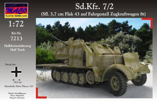 Maco Plastic Model Kits 1/72 WWII German SdKfz 7/2 Halftrack w/AA Self-Propelled