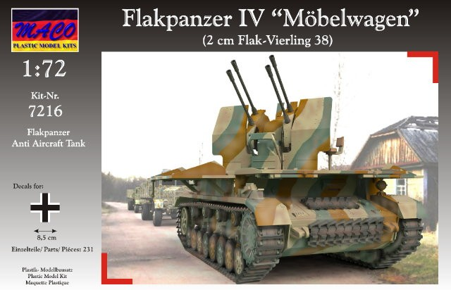 Maco Plastic Model Kits 1/72 WWII German Flakpanzer IV Moebelwagen AA Tank wFlak