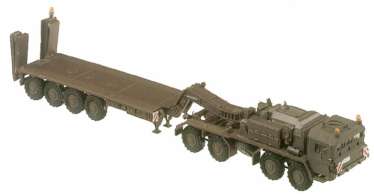 Herpa Minitanks 1/87 Elefant 8-Axle Transport Armored Truck w/Flatbed Trailer