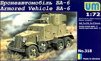Unimodels Plastic Model Kit 1/72 BA6 Russian Armored Vehicle