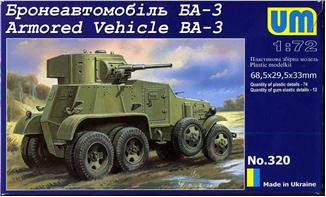 Unimodels Plastic Model Kit 1/72 BA3 Russian Armored Vehicle (D)