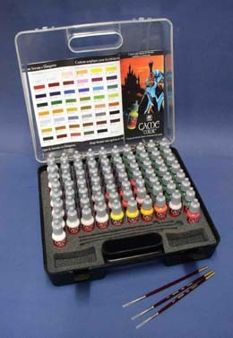 Vallejo Paints Game Color Paint Set in Plastic Storage Case (72 Colors & Brushes