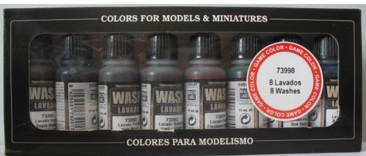 Vallejo Paints 17ml Bottle Wash Set (8 Colors)