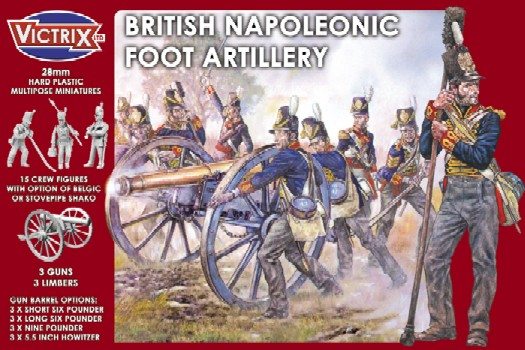 Victrix LTD Figures 28mm British Napoleonic Foot Artillery (15 w/3 Guns & Limber