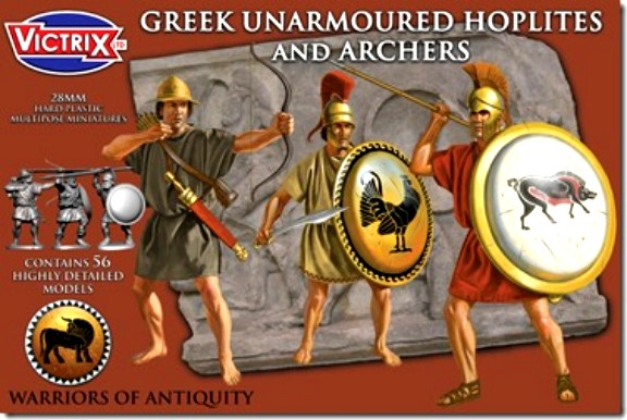 Victrix LTD Figures 28mm Greek Unarmored Hoplites & Archers (56)
