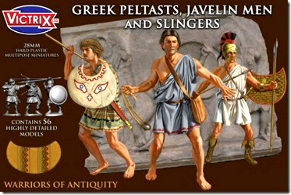 Victrix LTD Figures 28mm Greek Peltasts, Javelin Men & Slingers (56)