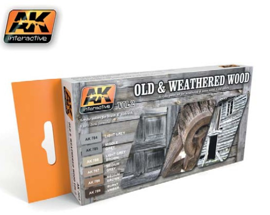 Image 0 of AK Interactive Old & Weathered Wood Vol.2 Acrylic Paint Set (6 Colors) 17ml Bott