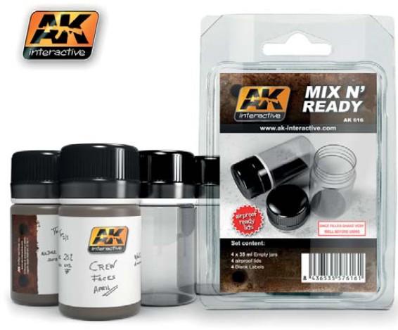 AK Interactive Mix N' Ready 35ml Empty Bottles w/Labels (4)