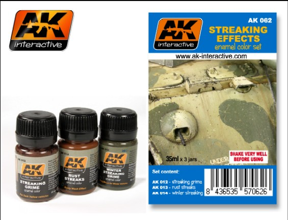 AK Interactive Streaking Effects Enamel Paint Set (12, 13, 14)