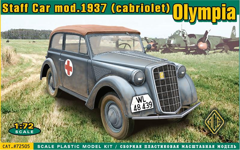 Image 0 of Ace Plastic Models 1/72 Olympia Mod 1937 Convertible Staff Car