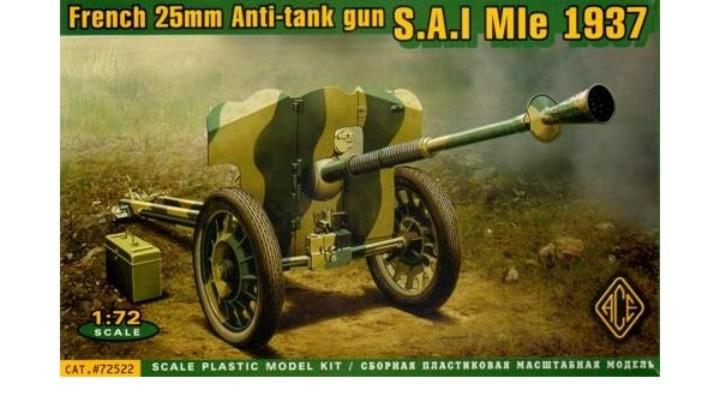 Ace Plastic Models 1/72 French SAI Mle Mod 1937 25mm Anti-Tank Gun