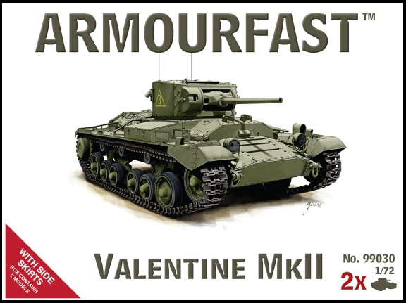 Armourfast 1/72nd Scale Valentine Mk II Tank w/Side Skirts (2) 99030