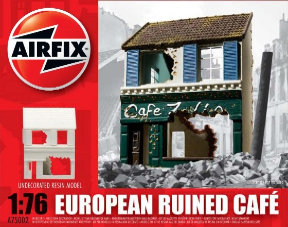 Image 0 of Airfix 1/76 European Ruined 2-Story Cafe Resin Ready-Built Unpainted (D)