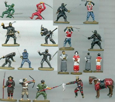 Caesar Miniatures 1/72 Japanese Samurai w/Ninja (40) (D)