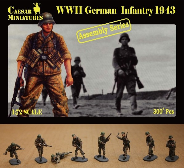 Image 0 of Caesar Miniatures 1/72 WWII German Infantry 1943 (16 multi-posed figs) (Kit)