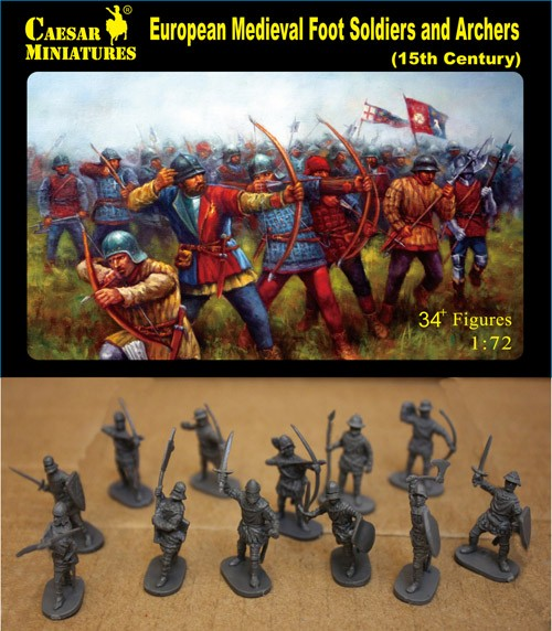 Caesar Miniatures 1/72 15th Century European Medieval Foot Soldiers & Archers (3