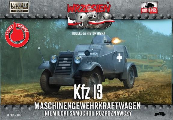 First To Fight 1/72 Kfz13 German Recon Armored Car w/Machine Gun