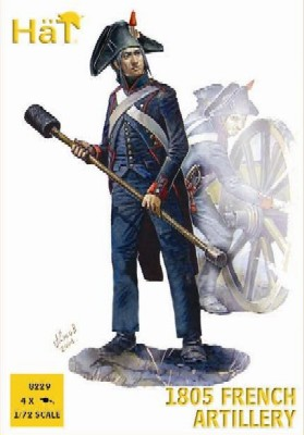Hat 1/72 Napoleonic 1805 French Artillery (16 w/4 Cannons)