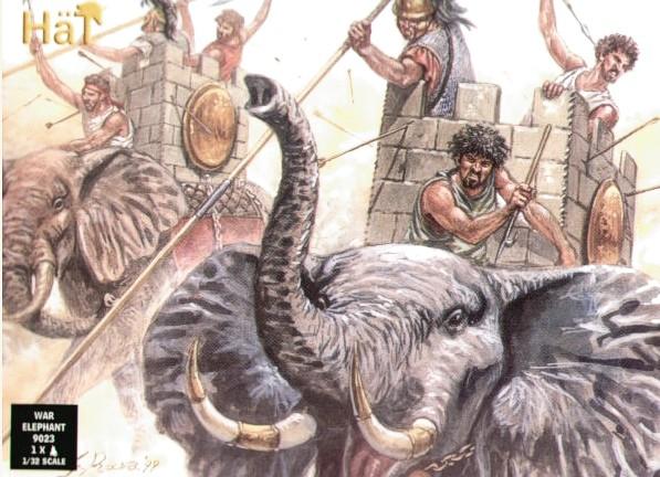 HAT 1/32 Hannibal's Carthaginian War Elephant (1 w/Howdah & 3 Figs)