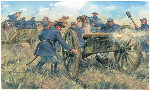 Italeri 1/72 American Civil War: Union Artillery (13, 8 Horses, 2 Guns)